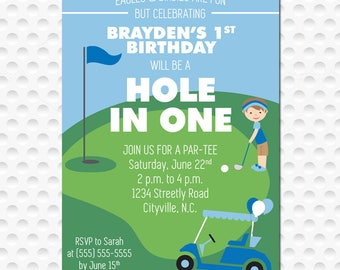 Hole in One Golf Birthday Party Invitation (5x7)