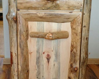 Rustic Trash Cabinet, Stand Alone Cabinet, Wood Cupboard, Island Cupboard, garbage cabinet, cabinet