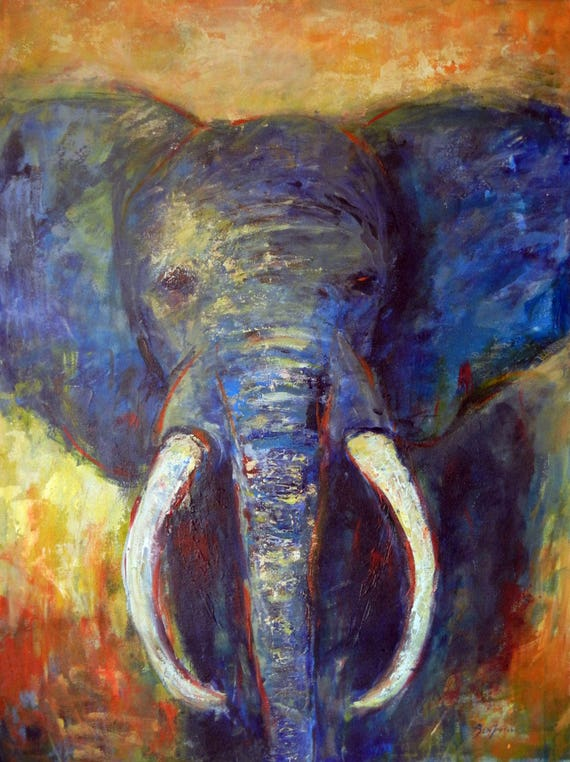 Abstract Elephant Painting ORIGINAL Modern African Animal Art  48x36 by BenWill
