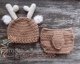 Newborn Crochet Deer Hat and Diaper Cover Set