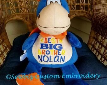 Personalized Baby Gift, Stuffed Animal, Dragon Stuffed Animal, Monogrammed Stuffed Animal,Birth Announcement Stuffed Animal,Blue Dragon