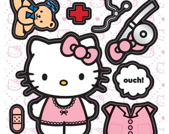 20 Make-Your-Own Hello Kitty Doctor Stickers, ...