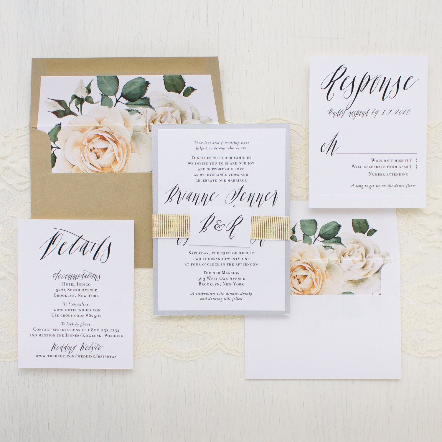 Modern Calligraphy Script Wedding Invitations Ivory Rose