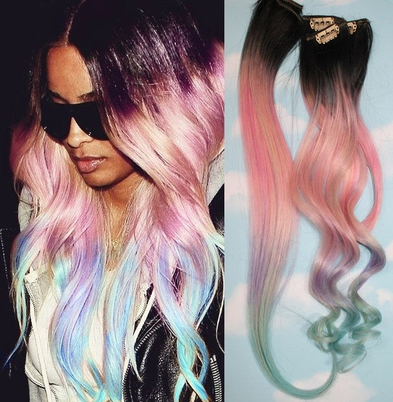 Light Pastel Dip Dyed Hair Clip In Hair Extensions Tie Dye