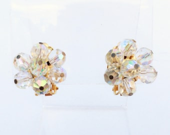 Signed ALICE CAVINESS Clear Aurora Borealis Glass Bead Clip On Earrings
