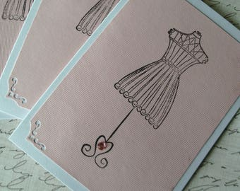 Dress Form Greeting Cards, Set of 4, Blank, Shabby Chic, Friendship, Birthday, Thank You