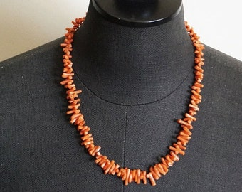 30% OFF SALE Natural Salmon Branch Coral 14K Gold Necklace