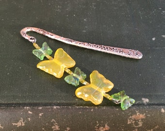 BEADED BUTTERFLY BOOKMARK yellow and green