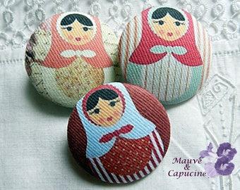 3 fabric buttons, matryoshka, 0.78 in / 20 mm
