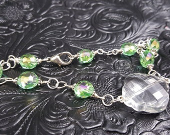 Green and Crystal Anklet