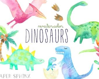 Watercolor Dinosaur Clipart   Girly Dinosaur Clip Art - Dinosaur Birthday Party - Girls Dinosaurs - T Rex, Pterodactyl - Digital PNG Files