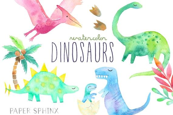 Watercolor Dinosaur Clipart Girly Dinosaur Clip Art Dinosaur