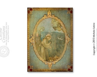 Religious Icon Photo Print, Saint Francis De Assisi, Religious Art Preaching to the Birds Icon Photo  St. Francis Pope