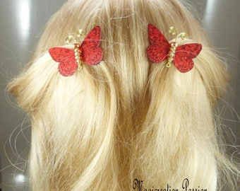 Butterfly clips anti-slip silk red body beeds, golden metal antennas, Ombre, spring - Apolline - made in France
