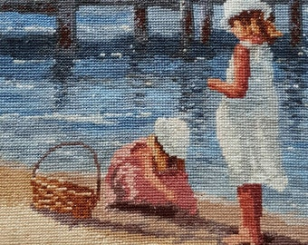 Cross Stitch - Sisters At The Beach