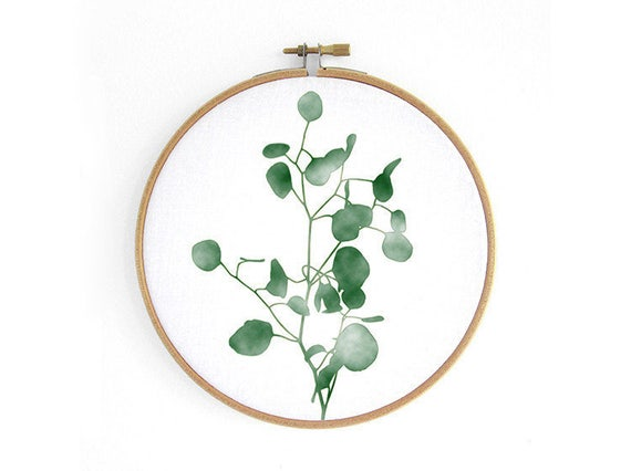 Renna Deluxe eucalyptus embroidery hoop jungle wall decoration