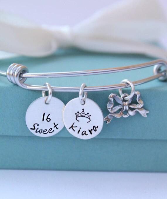 Sweet 16 Charm Bracelet: Personalized Sweet 16 Charm Bracelet Personalized Name