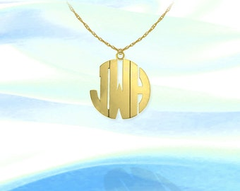 Monogram Necklace -  .5 inch 24K Gold Plated Sterling Silver Handcrafted - Initial Monogram - Initial Necklace - Made in USA