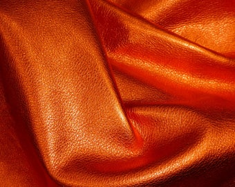 """LOBSTER ORANGE Pebbled Metallic 12""""x12"""" Soft cowhide shows the grain Leather 3-3.25oz/1.2-1.3mm PeggySueAlso™ E4100-18"""