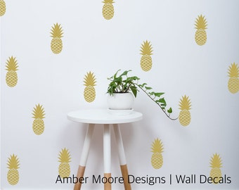 Pineapple Wall Decals - Set of 12 Pineapples Stickers - Pineapple Decor - Nursery Wall Decals - Pineapple Stickers - Pineapple Wall Decals