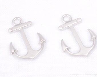 P659-01-MR// Matt Rhodium Plated Anchor Pendant, 4 pcs
