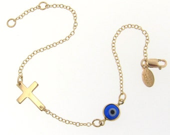 Lucky Evil Eye And Sideways Cross Bracelet - 14K Gold Filled - Celebrity Style Jewelry