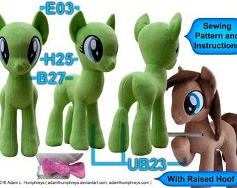 Pony Mare Stallion Plushie Sewing Pattern 27 Minky Stuffed Plush Animal Template