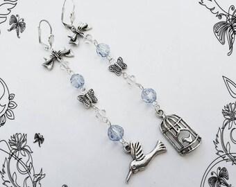 Mismatched earrings, bird & birdcage charms, butterflies, long dangle bead drop, asymmetric