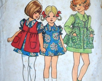 Vintage 70's Simplicity 5277 Sewing Pattern, Girl/Toddler Dress And Smock, Size 2, Retro 1970's Kids Fashion