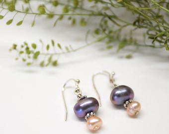 Genuine freshwater pearl drop earrings, sterling silver wire