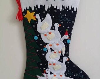 Felt Christmas stocking Joy to the world stocking