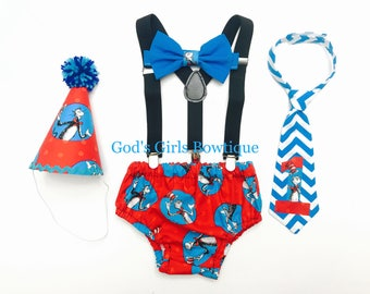 Dr Seuss Cat in the Hat 1st Birthday Smash Cake Party Outfit Photo Prop Bow Tie Hat Baby Toddler Boys Bottoms