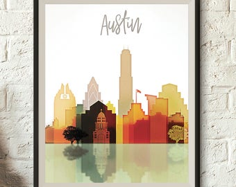 Austin Pastel Skyline, Austin Printable Cityscape, Texas Poster, Printable wall art, Digital Download, File for print, 300 Dpi Jpeg