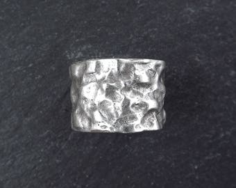 Hammered Band Silver Ethnic Tribal Boho Chunky Statement Ring - Authentic Turkish Style