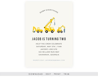 Construction Birthday Party Invitation with Picture | Digger Birthday Invitation, Instant Download, Digital Download, Printable Template