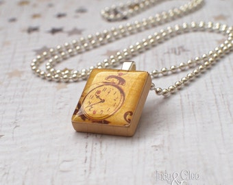 ALARM CLOCK Scrabble Necklace, Handmade Scrabble Tile Art Pendant, Wood Tile Pendant, Clock Charm, Vintage~Look, Tiny Jewelry, Upcycled