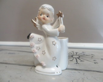 Napco Angel Planter White with Gold Trim  Spaghetti Trim Angel Planter Christmas Angel Vintage Holiday Decor Christmas Decor