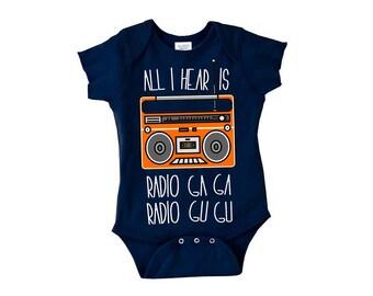 Queen Baby Gift, Radio Ga Ga Onesie, Baby Boombox, LJ #67