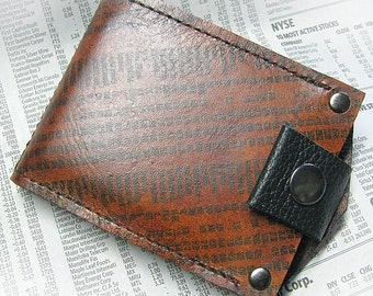 Men's Brown Leather Billfold Money Clip Snap Wallet with Stocks and Bonds Print