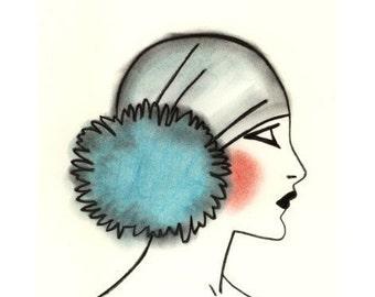 Art Deco Flapper Girl -   Blue Pom Pom - 4 X 6 print - 4 for 3 SALE