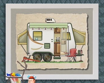 Expandable Hybrid happy camper art Cute whimsical travel trailer and camper prints add fun to RV trailer or cabin as 8x10 & 13x19 wall decor