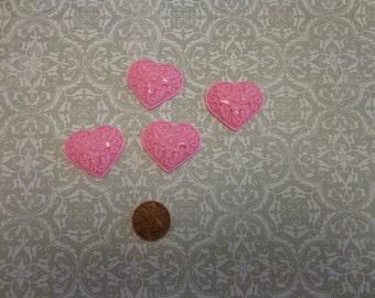 "Pink Plastic Heart Cabachons, 1"" x 1 1/4"", Flat Back (4)"