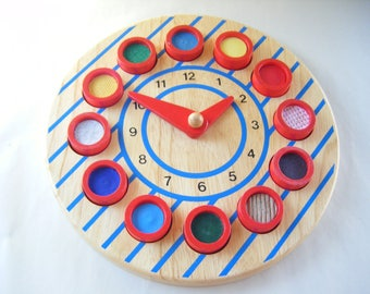 Vintage Tell By Touch Clock Tactile Texture Toy Children Play Kids Parenting Education Teacher Rare Learn to Tell Time Wood Educo