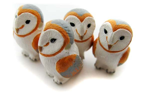 4 Large Barn Owl Beads - peruvian, ceramic, animal, large hole - LG598