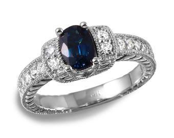 Women's Beautiful Sapphire and Diamond Ring