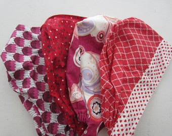 Reds & Pinks 4-pack of Hats - Tie-back/Front Fold Style