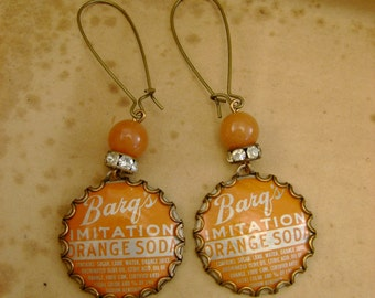 Orange You Smart-Barqs Imitation Orange Soda Biloxi Bottle Caps Bezels Rhinestones Beads Recycled Repurposed Jewelry Earrings