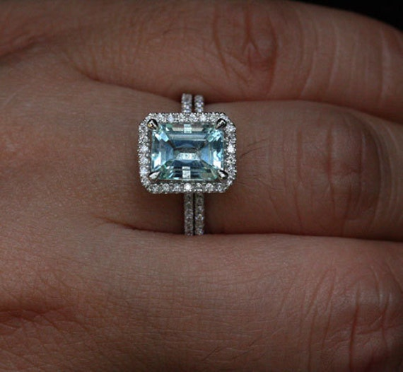 Emerald Cut Aquamarine Ring Bridal Ring Set In 14k White Gold