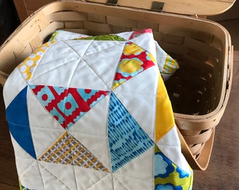 Quilted Table Runner, Bright Colors, Reversible