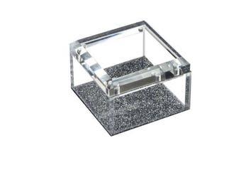 Acrylic Lucite Silver Glitter Box